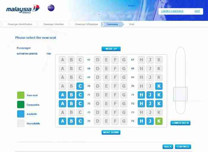 Any available seat could be chosen for free at check-in on Malaysia Airlines