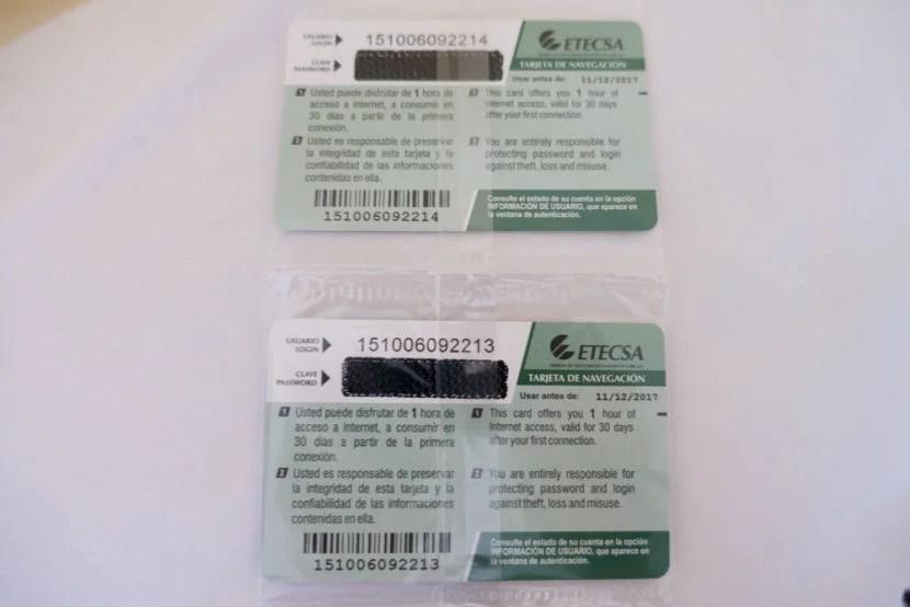 Internet cards in Cuba.