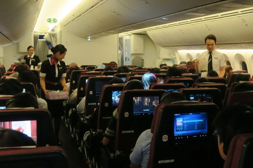 The JAL flight attendants on this flight were attentive and passed through the cabin frequently.