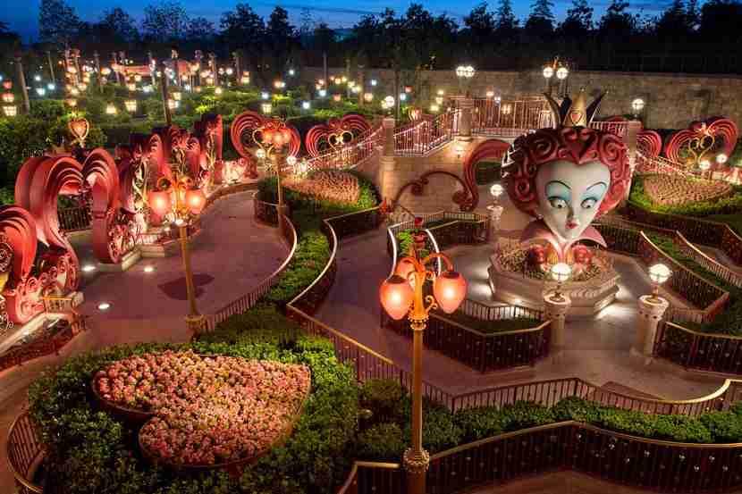 The Alice in Wonderland Maze in Fantasyland.