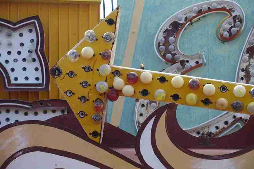 The Neon Museum is located off the Strip, but it