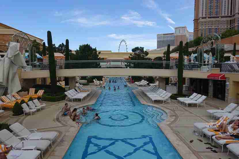 The pool area is situated on two different levels.