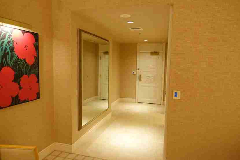 The marble foyer was flanked by a huge mirror on one side and the bathroom door on the other.
