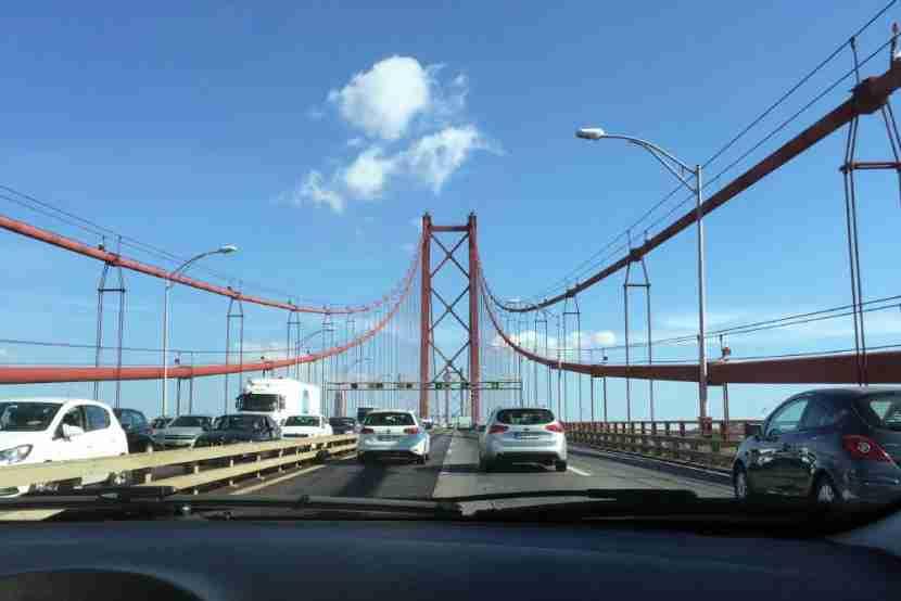 Crossing the 25 de Abril Bridge.