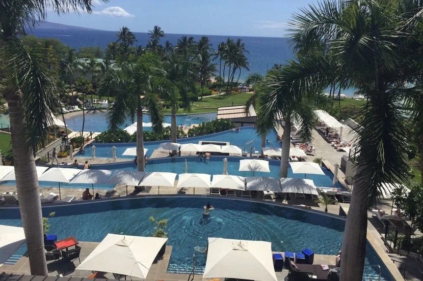 The four-tiered main pool area of the Andaz Maui.