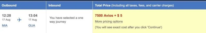 You can fly one-way between MIA and GUA for just 7,500 Avios.