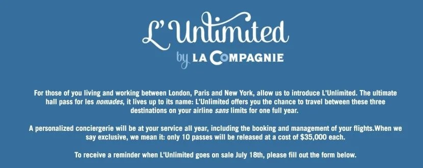 La Compagnie's new L'Unlimited ticket will allow you to travel in business class as much as you want for a year.