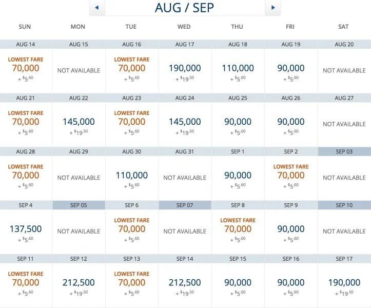 Delta One award availaibilithy from JFK-ACC in August and September.