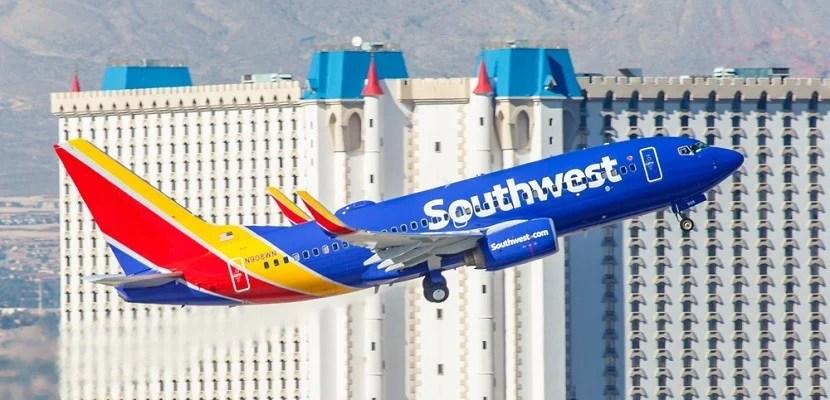 Southwest Airlines plane takeoff Las Vegas Excalibur featured shutterstock 329640158