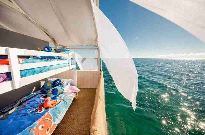Bunk beds featuring Finding Nemo sheets make this a great once-in-a-lifetime trip for families. Image courtesy of Airbnb.