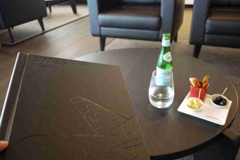 Swiss First Lounge Menu