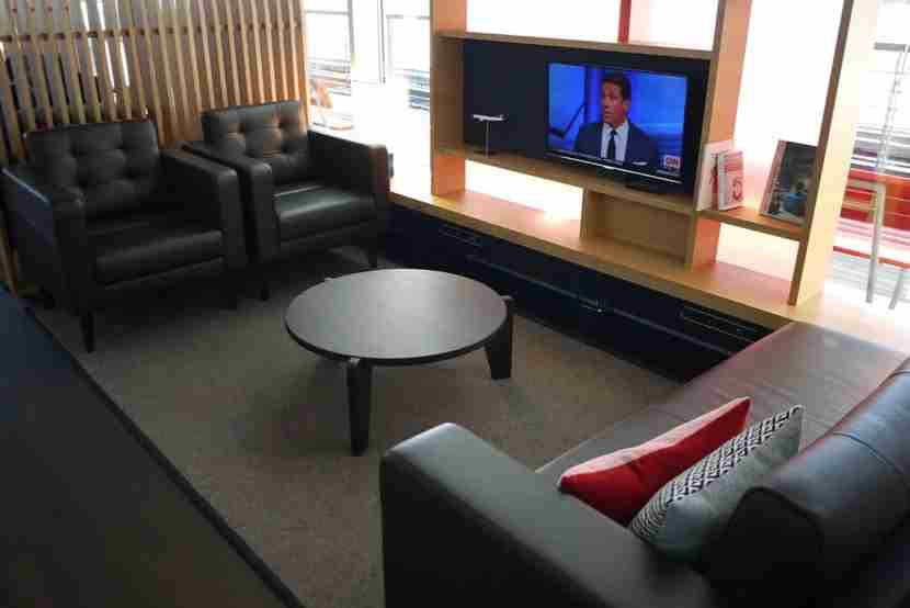 Living room area in the Swiss First Lounge