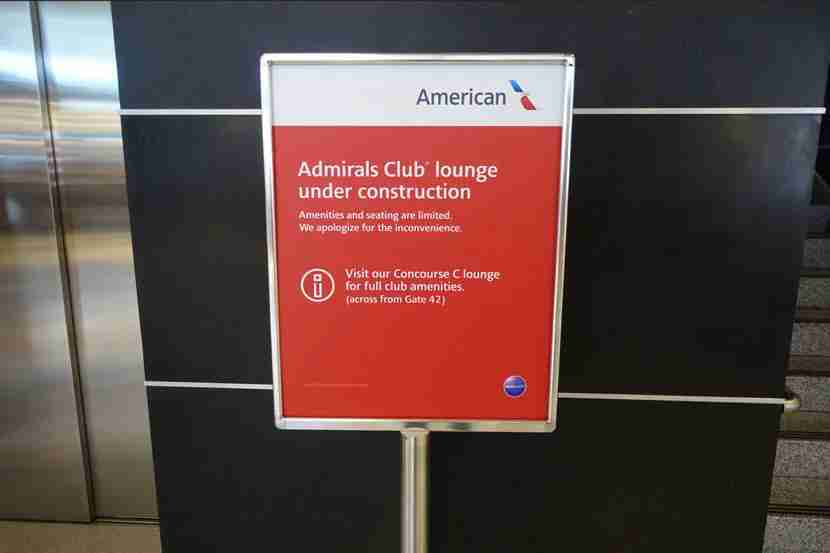The Admirals Club at JFK is only partially closed, which doesn