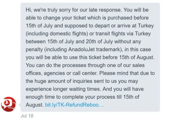 Finally aresponse via Twitter — three days later — from the Turkish Airlines Help Desk.