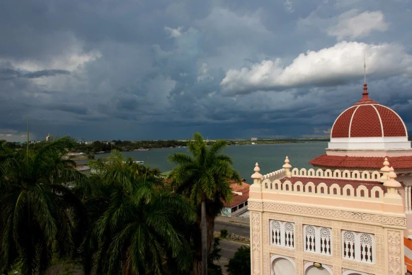 A view of the stormy sky from the Palacio de Valle in Cienfuegos.