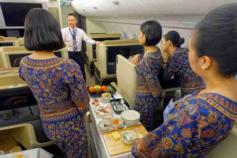 Singapore Airlines flight attendants training for the job. Image by Zach Honig.