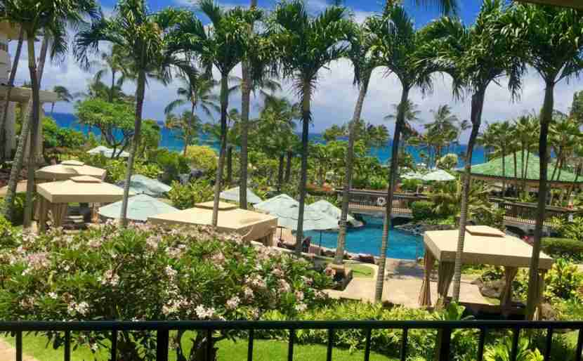 Our lanai overlooking the adults-only pool and the Pacific.