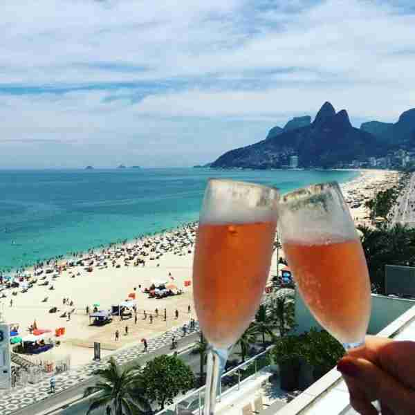 The roofdeck of the Fasano is the perfect place to enjoy a glass of sparkling rosé while taking in Rio