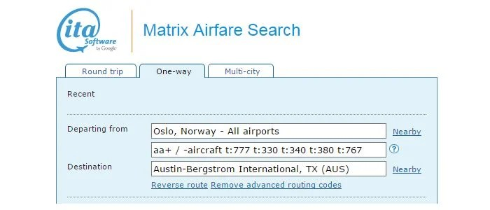 "I used <a href=""https://matrix.itasoftware.com/"" target=""_blank"">ITA Matrix</a> to find a flight option on AA's 787 Dreamliner."
