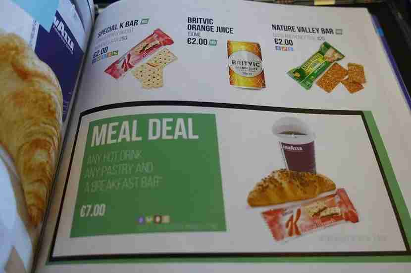 Some meal options on easyJet.