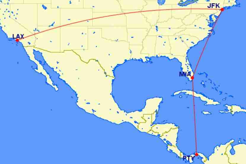 My planned journey began and terminated in New York (JFK) while traveling all throughout the US and parts of Central America.