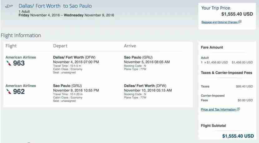 Dallas to Sao Paulo for $1,555 round-trip.