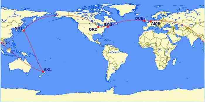 Visit 3 continents from Boston for 105,000 miles.