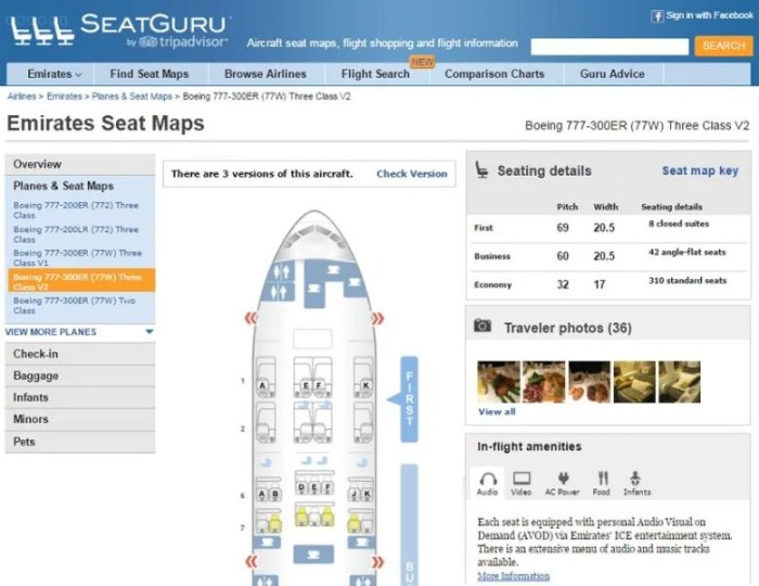 """<a href=""""http://www.seatguru.com/"""" target=""""_blank"""">SeatGuru</a> has a lot more detail about each aircraft, but you'll need to search each flight option individually."""