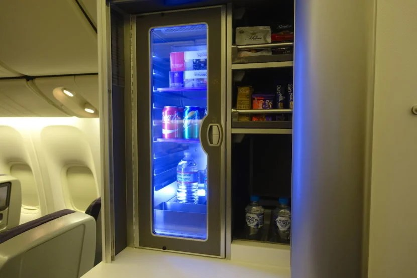 The snack bar for premium economy passengers.
