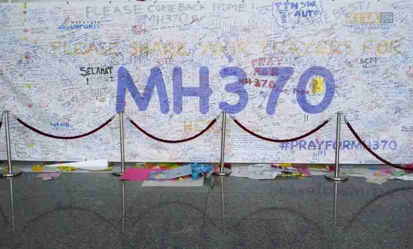 "The search for MH370 will soon be suspended indefinitely. Image courtesy of <a href=""http://www.shutterstock.com/pic-182049074/stock-photo-kuala-lumpur-international-airport-march-support-messages-and-prayers-for-malaysia.html?src=f6tchrbcwdXptCAr-xGkKg-1-3"" target=""_blank"">Shutterstock</a>."