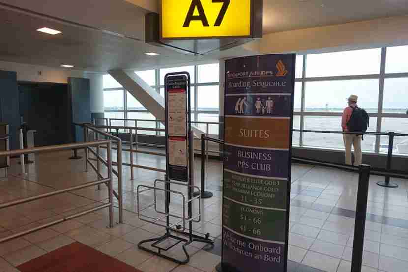 My gate, A7, where premium economy passengers boarded after Suites and business class.
