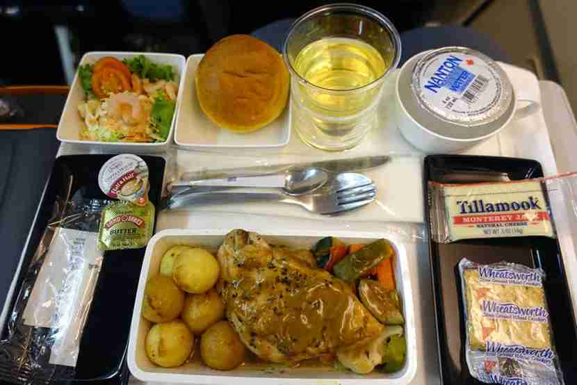 A premium-economy meal on Singapore Airlines.