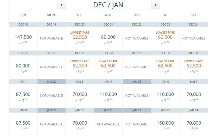 Delta's award prices from Atlanta (ATL) to Madrid (MAD) in business class.