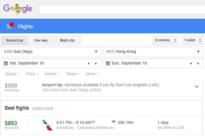 Google Flights will automatically suggest cheaper flights from nearby airports.