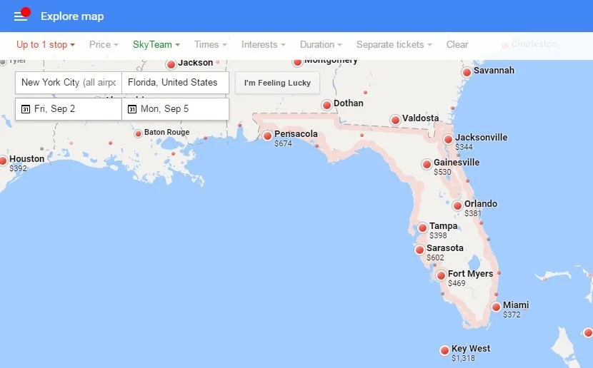 Using Google Flights' Maps Feature to Find Last-Minute Deals on