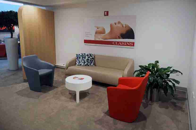 The entryway to the Clarins wellness area within the Air France lounge.