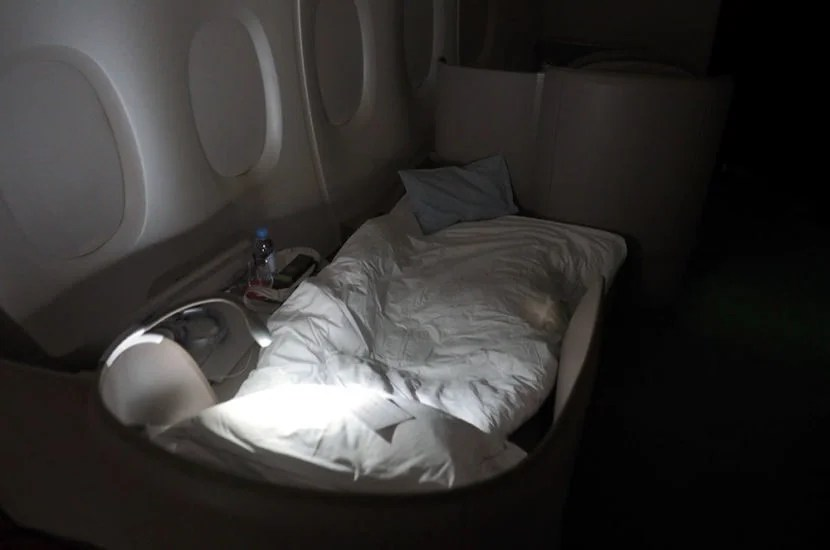 My seat in its lie-flat position made for some greatsleep.