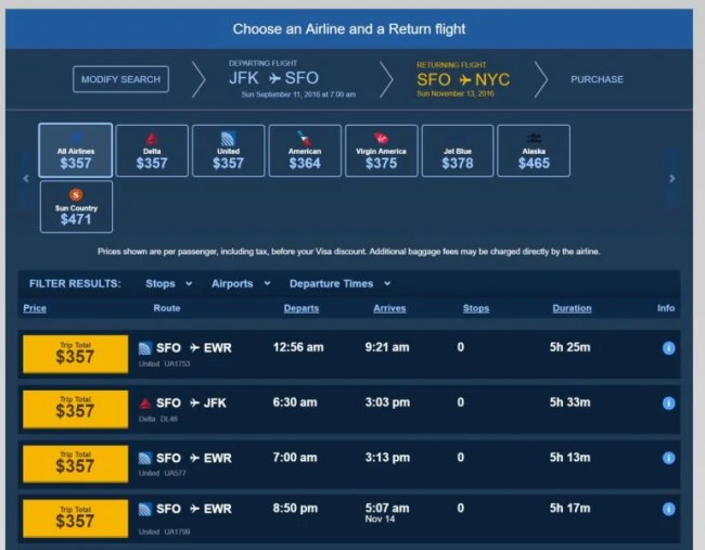 Flight results page