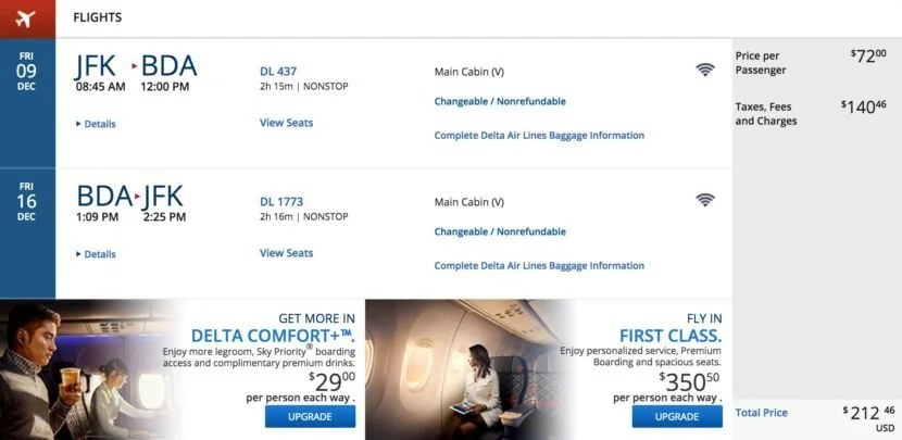 New York (JFK) to Bermuda (BDA) for $212 round-trip on Delta.