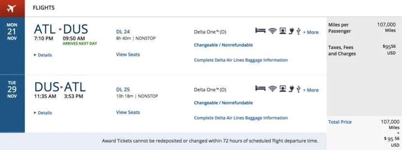 Atlanta (ATL) to Dusseldorf, Germany (DUS) round-trip for 107,000 SkyMiles + $95.56 in Delta One in November.