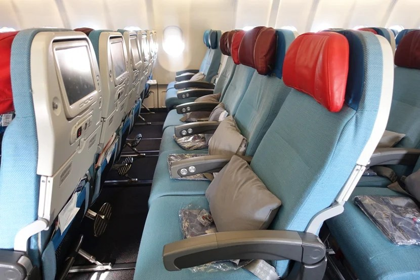 Economy class seats aboard Turkish Airlines
