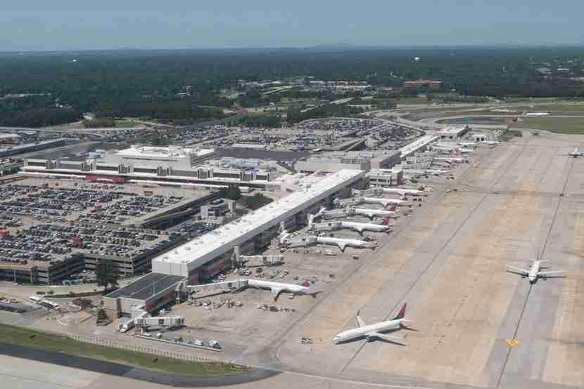 "Atlanta is the busiest airport in the world. Image courtesy of <a href=""http://www.shutterstock.com/pic-314376227/stock-photo-atlanta-georgia-august-aerial-view-of-hartsfield-jackson-atlanta-international-airport.html?src=qr6dAKZhZLdw4xDdY5KU4w-1-1"" target=""_blank"">Shutterstock</a>."
