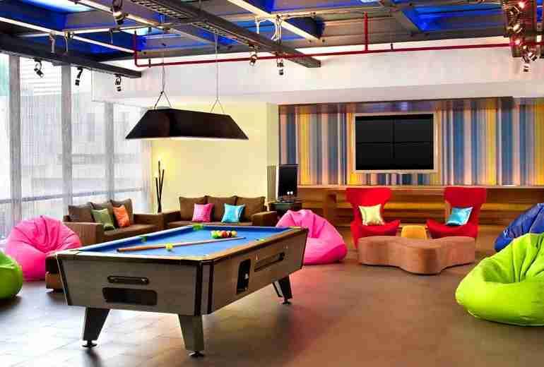 The Aloft Bangkok has colorful hangout spaces. Photo courtesy of Aloft Hotels.