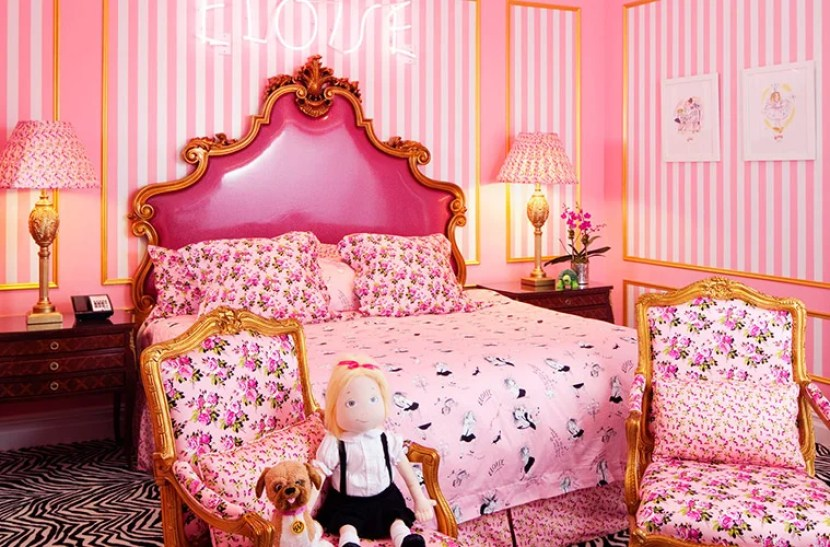 The Eloise suite designed by Betsey Johnson at the Plaza Hotel in NYC. Photo courtesy of Fairmount Hotels.