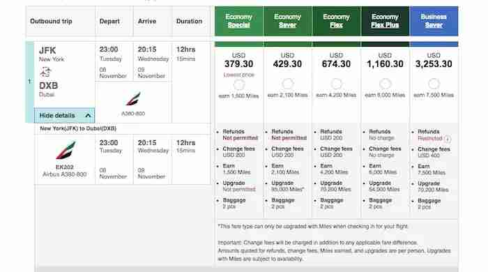 A breakdown of fees on Emirates.com.