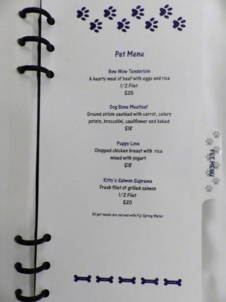 Ritz-Carlton Laguna Niguel pet menu