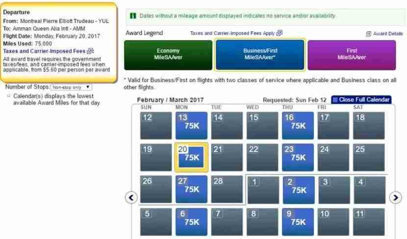 Great award availability on the Montreal - Amman, twice-daily Royal Jordanian flight.