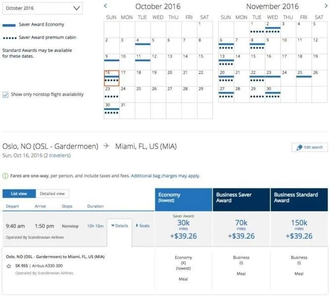 Oslo (OSL) to Miami (MIA) for 70,000 United miles in business class.