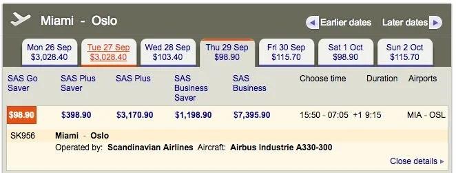 Miami (MIA) to Oslo (OSL) for $99 one-way on SAS.