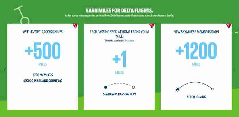 12status members earn SkyMiles based on number of sign-ups and number of passing yards by the Seahawks.